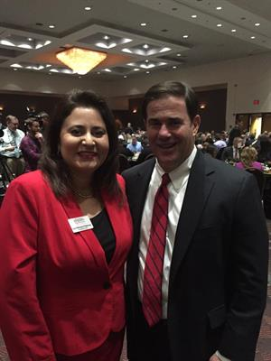 Lea Marquez Peterson and Governor Doug Ducey