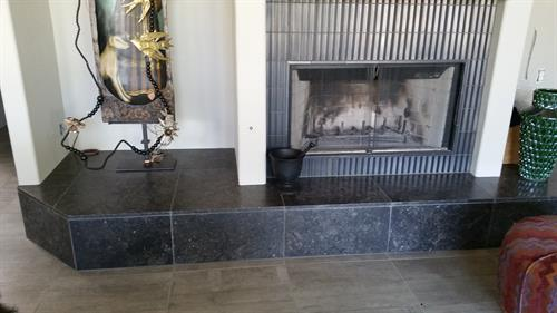 Limestone Fireplace Hearth, Metallic Tile Surround