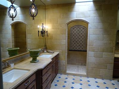 Limestone Tile Master Bathroom