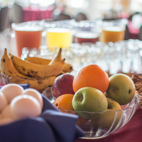 Breakfast each morning always includes house-made breads and sweet treats, fresh fruit and juices, and eggs.