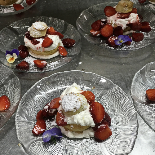 Fresh fruit shortcakes make the most of summer berries – dessert is always included in your dinner at the Tables of Content.