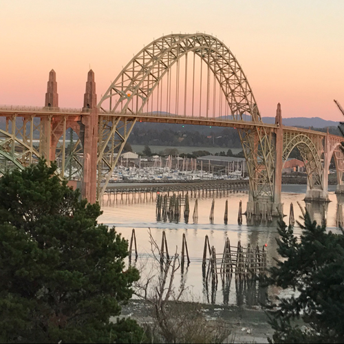 An early fall sunset over the Yaquina Bay Bridge,