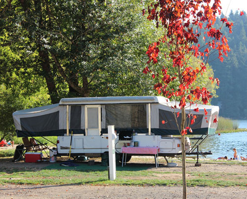 Rv camping just steps from the water's edge at Loon Lake