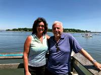 Angela and Dad overlooking Oyster Bay Harbor.