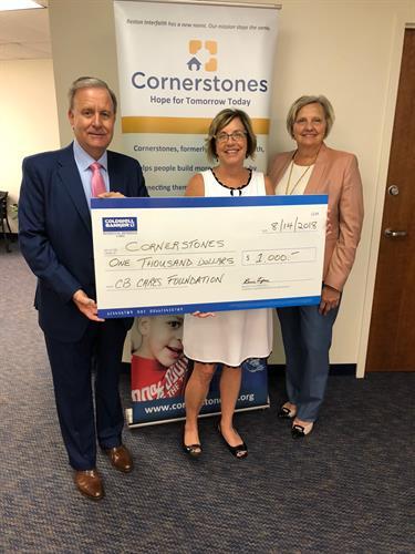 Donation to Cornerstones
