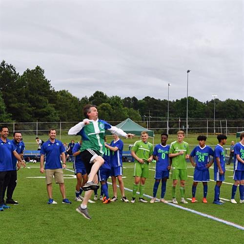 Boys State Soccer Champion Coach JOY! photo: S. Stassinos