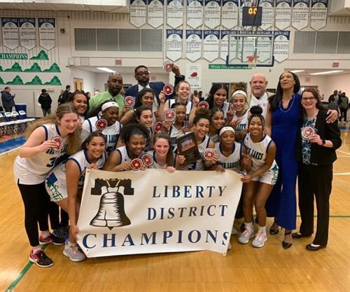 GIrls Varsity Basketball Liberty District Champs 2020