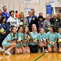 2019 Volleyball Seniors and families photo: Athletics