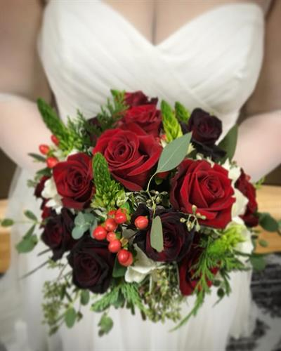 Lush, Winter Bridal Bouquet