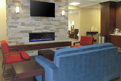 Warm up in our cozy lobby.
