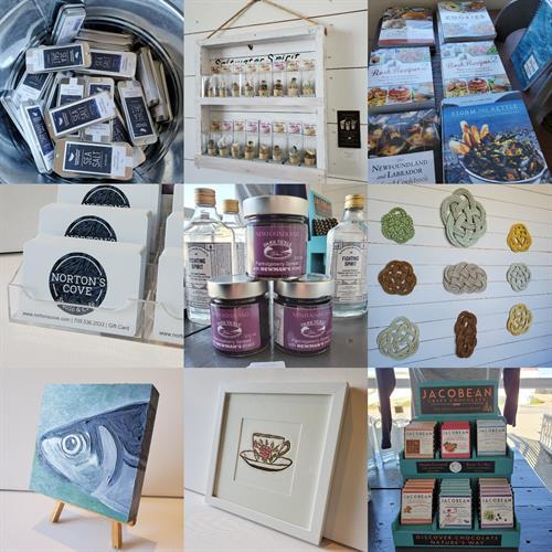 Norton's Cove Studio & Café giftshop offerings