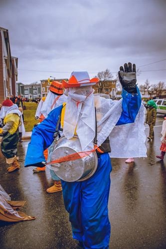 The Mummer's Festival Parade happens in December, Where else but Newfoundland would you invite someone into your home dressed like this?