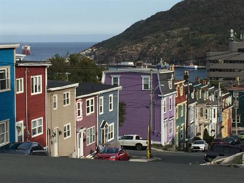 The colourful houses of hilly downtown St. John's, no two are quite alike.