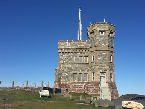 Cabot Tower, at the top of Signal Hill, overlooking the City of St. John's and The Atlantic Ocean
