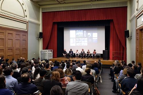 A panel discussion by Harvard University Graduate School of Design during the Chicago Architectural Biennial at the Chicago Cultural Center.