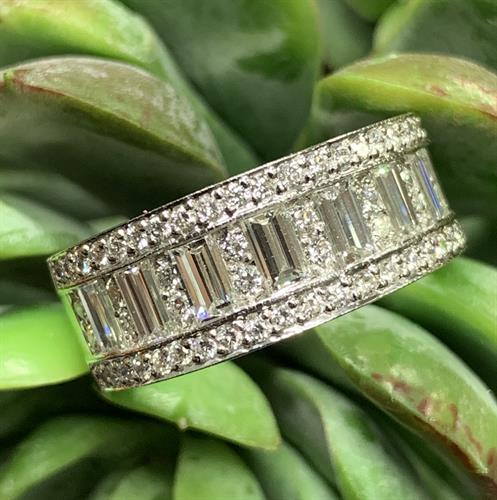 Baguette and round diamond band set in platinum