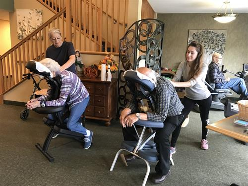 Terry Benzi-Ellingson from Adell's Place in Dalton, and her assistant Angela Zahnow, are pictured giving complimentary chair massages to our tenants during Active Aging Week.  Terry gives massages on site by appt Mondays and Fridays.