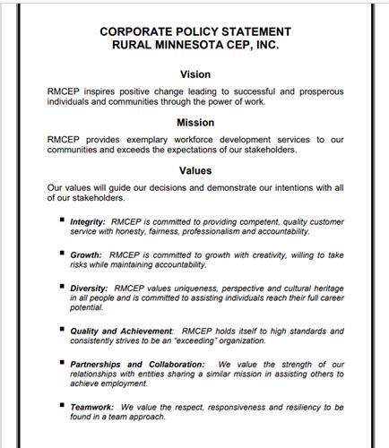 Rural Minnesota CEP Vision