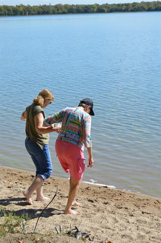 Outing to Glendalough State Park, feel the sand and water on the toes.