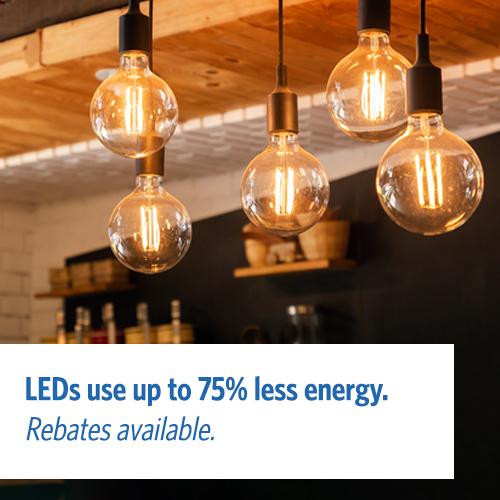 LEDs use 75% less energy.
