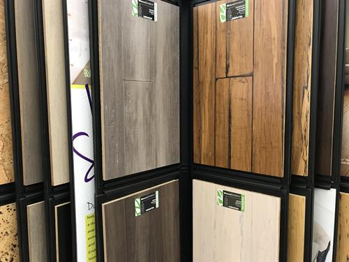 We carry dozens of choices in carpets, luxury vinyl planking and vinyl flooring and hard woods.