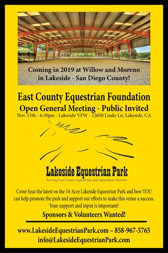 Join us Nov. 15th at the Lakeside VFW 6:30pm to hear about the Lakeside Equestrian Park.