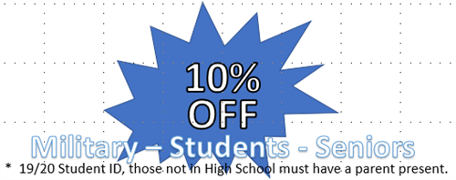 Discounts for Military, Seniors and Students