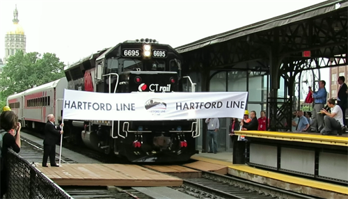 Opening of the CTrail Hartford Line train service between New Haven and Springfield, MA