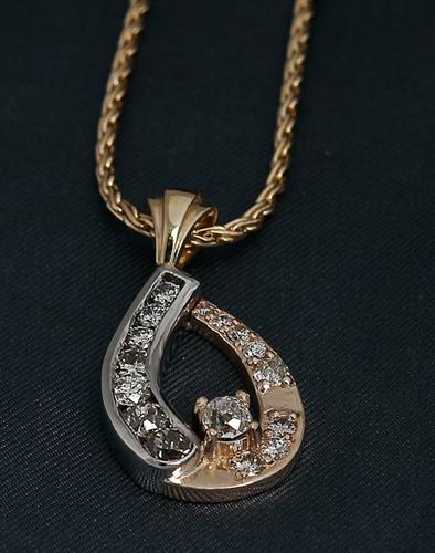 Custom-Made Yellow & White Gold Diamond Pendant