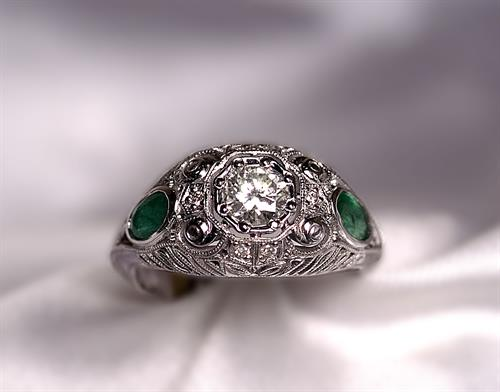 Custom-Made White Gold Antique Style Diamond & Emerald Ring