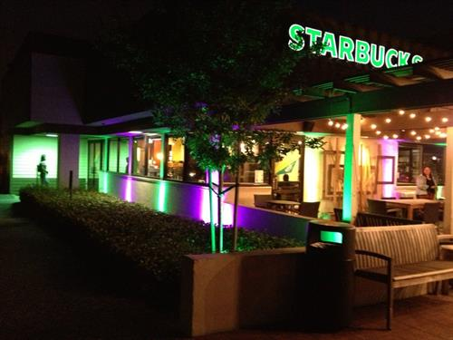 Providing Up-Lighting at Starbucks Grand Opening of going 24 hours!