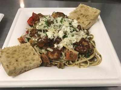 Linguine Primavera with Blackened Chicken