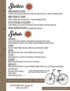 Sorellas Menu (Salads and Appetizers)