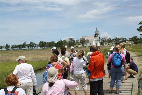 Tour group getting ready to walk through Portsmouth village