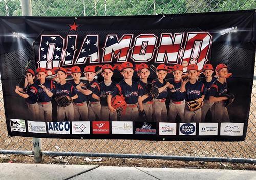 Sponsor banner for Diamond Stars Baseball