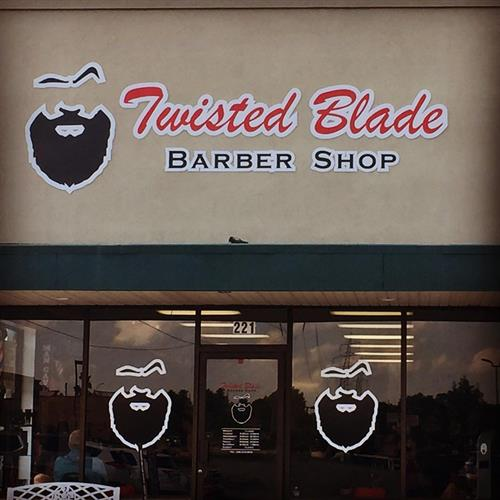 Polymetal lettering and window graphics for Twisted Blade