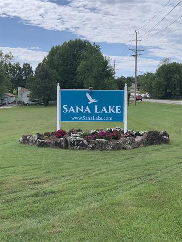 Post and panel sign for Sana Lake Recovery Center