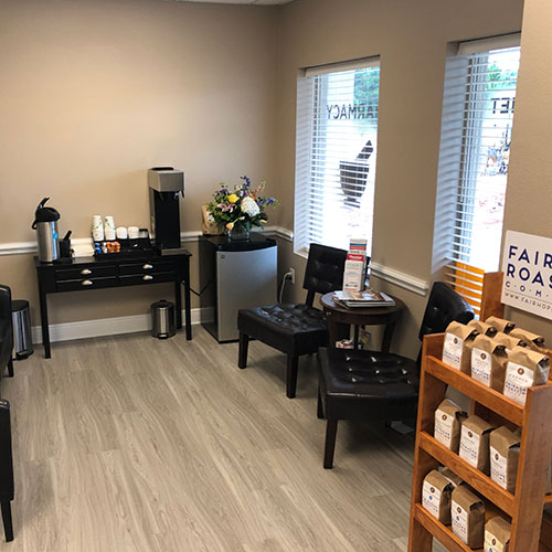 Our waiting room has coffee every day from Fairhope Roasting Company. Feel free to come by and get a cup.