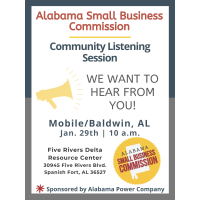ALABAMA SMALL BUSINESS COMMISSION TO HOLD PUBLIC LISTENING SESSION FOR MOBILE AND BALDWIN COUNTIES