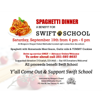 Spaghetti Dinner Fundraiser Benefiting Swift Elementary