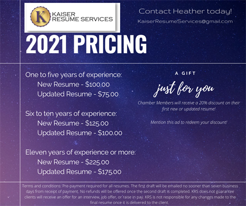 Pricing Sheet with Chamber Member Discount