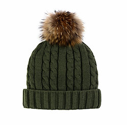 Wool Hat with Fur Pom