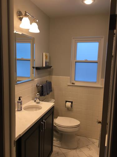 Updated Bathroom Image: Testimonial:  It is a beautiful bathroom.  Always think of you and Roger and Ross when I am in it.  Glad we had it done when we did.  Jackie B
