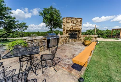 Outdoor Propane BBQ Grill Area, Sink, Masonry Fireplace and picnic eating area