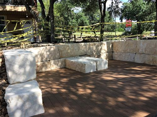 New Trex Deck in shaded area for guests to relax outside in comfort