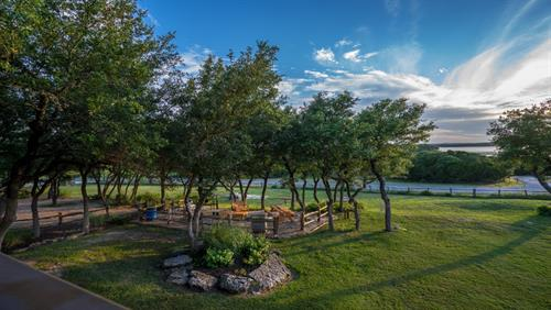 Shaded Picnic and BBQ Patio Areas with amazing Lake views with boat ramp nearby