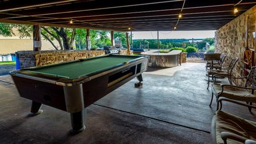 Covered Pavilion to get out of heat and play pool and Watch Game on Outdoor big screen TV