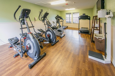 Don't miss a workout in the onsite fitness center.