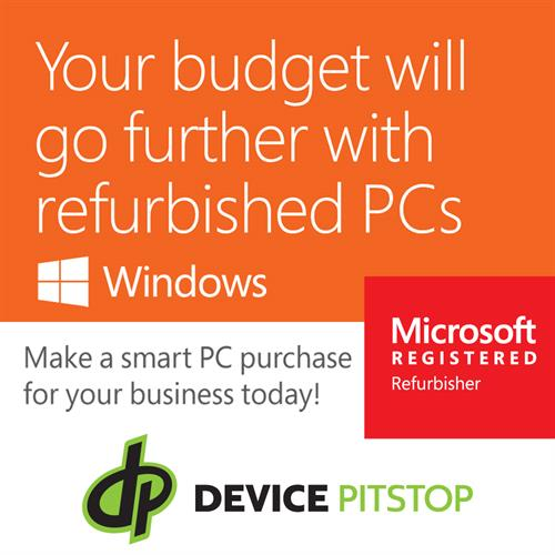 Device Pitstop of Maple Grove is certified as a Microsoft Windows Refurbisher!