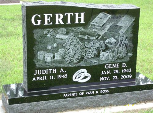 Hand Etched Farm Scene Headstone